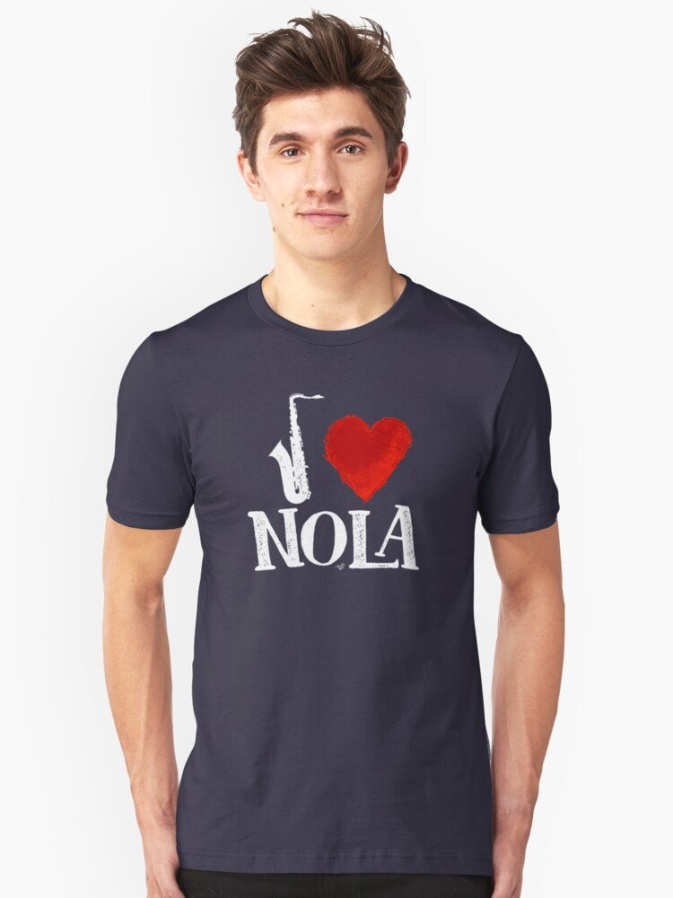 I Heart New Orleans (remix, white) by Tai's Tees Unisex T-Shirt Front