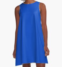 Blueberry Blue - Simple Solid Designer Color All Over Color A-Line Dress
