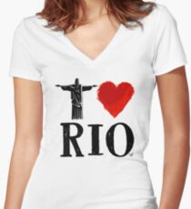 I Heart Rio de Janeiro (blk) by Tai's Tees Women's Fitted V-Neck T-Shirt