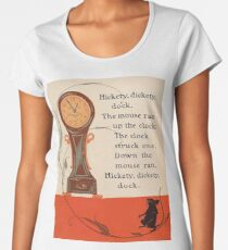 CLOCK, TIME, NURSERY, RHYME, Hickety Dickety Dock, Hickory Dickory Dock, Denslow Women's Premium T-Shirt