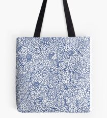Floral Bunch in Blue Tote Bag