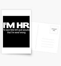 I'm HR human resources Postcards