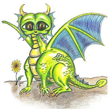 Green Big Eyed Baby Dragon  by VickiBowerArt
