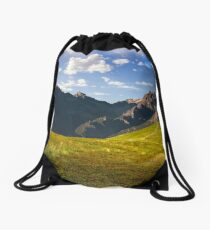 Hillside path to mountain peaks Drawstring Bag