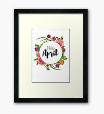 Hello April - monthly cover for bullet journal, diary, planner Framed Print
