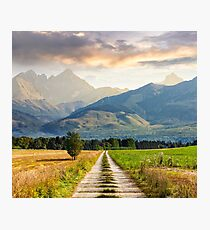 Rural fields near the high mountains Photographic Print
