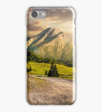 road through forest to high mountains at sunset iPhone Case/Skin