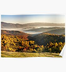 cold fog on hot sunrise in mountains Poster