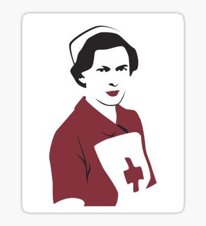 Retro Red Cross Nurse Sticker