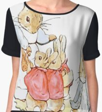 Nursery Characters, Peter Rabbit, Beatrix Potter  Women's Chiffon Top