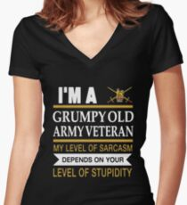 I'm A Grumpy Old Army Veteran My Level Of Sarcasm Depends On Your Level Of Stupidity Uk British T-shirts Women's Fitted V-Neck T-Shirt