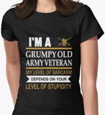 I'm A Grumpy Old Army Veteran My Level Of Sarcasm Depends On Your Level Of Stupidity Uk British T-shirts Womens Fitted T-Shirt