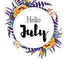 Hello July - monthly cover for planners, bullet journals by vasylissa