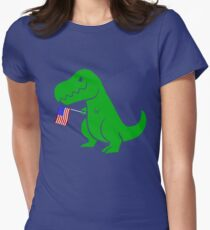 T Rex USA Flag Shirt 4th of July for Boys Girls Men Women Womens Fitted T-Shirt