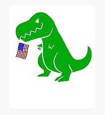 T Rex USA Flag Shirt 4th of July for Boys Girls Men Women Photographic Print