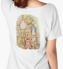 Nursery Characters, Grown up Peter in his nursery garden, The Tale of The Flopsy Bunnies Women's Relaxed Fit T-Shirt