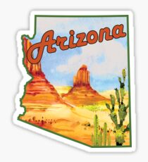 ARIZONA VINTAGE DESERT CACTUS TRAVEL MOUNTAINS SAGUARO GRAND CANYON PHOENIX TUCSON YUMA Sticker