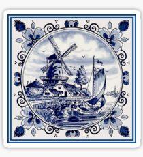 Pegatina DUTCH BLUE DELFT: Vintage Windmill Print