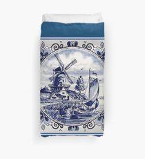 DUTCH BLUE DELFT: Vintage Windmill Print Duvet Cover