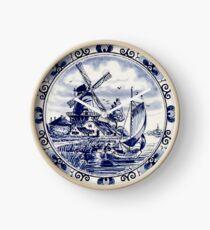 Reloj DUTCH BLUE DELFT: Vintage Windmill Print