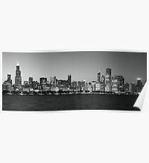 Chicago skyline black and white Poster