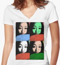 BEAUTIFUL FUNNY ASIAN GIRL POP ART COLOR Women's Fitted V-Neck T-Shirt