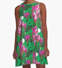 Pink Floral Abstract A-Line Dress