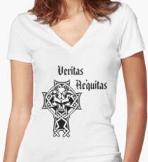Veritas Aequitas  / Truth Justice Women's Fitted V-Neck T-Shirt