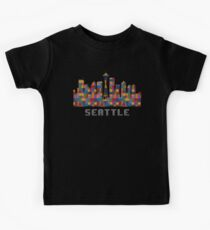 Space Needle Seattle Washington Skyline Created With Lego Like Blocks Kids Clothes