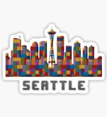 Space Needle Seattle Washington Skyline Created With Lego Like Blocks Sticker