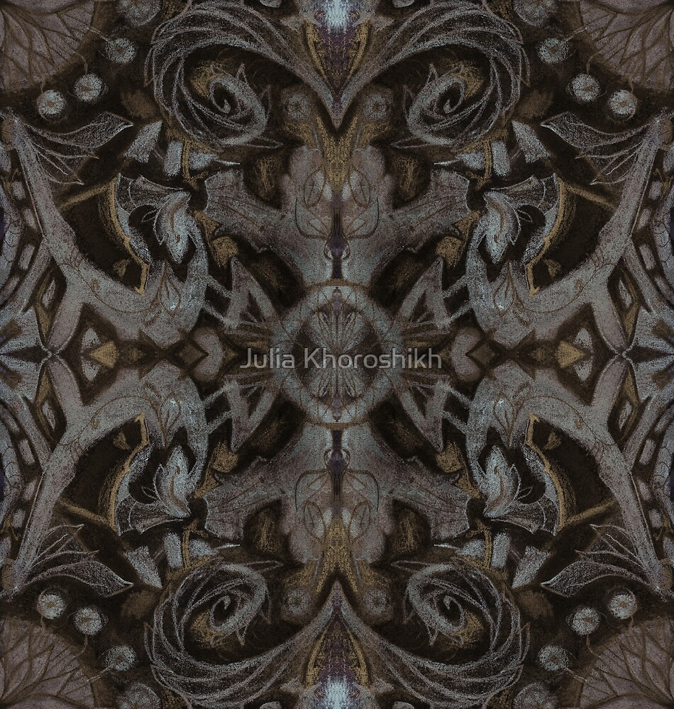 Curves & lotuses, abstract floral pattern, charcoal black, dark brown and taupe by clipsocallipso