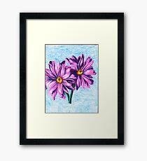 Pink Daisies on Blue- Oil Pastel Art - Floral Art Framed Print
