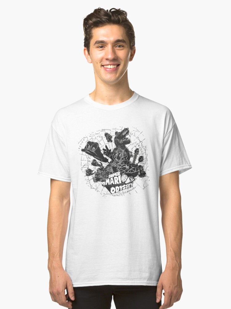 Super Mario Odyssey - Black & White Group Cover Classic T-Shirt Front