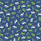 Ponies - green, grey and white on teal - Fun pattern by Cecca Designs by Cecca-Designs