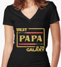 Father's Day Gift Best Papa in Galaxy Women's Fitted V-Neck T-Shirt