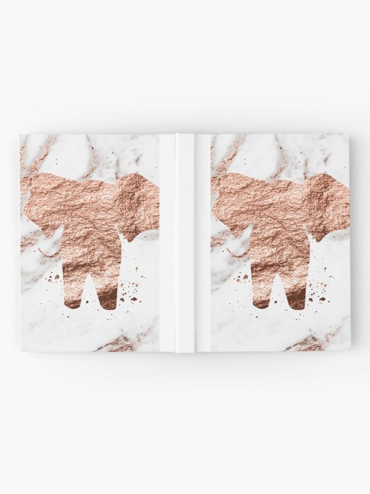 Alternative Ansicht von Elefant - Roségold Marmor Notizbuch