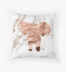 Elephant - rose gold marble Throw Pillow