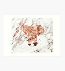 Elephant - rose gold marble Art Print
