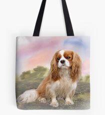 Cavalier Spaniel im Sonnenuntergang Tote Bag