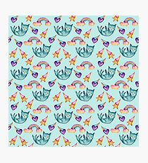 Dreamy Cat Floating in the Sky Watercolor Pattern Photographic Print