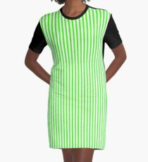 Green and White Striped Slimming Dress Graphic T-Shirt Dress