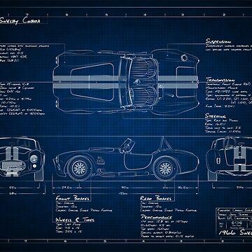 Shelby Cobra Blueprint by BlackArtGraphx