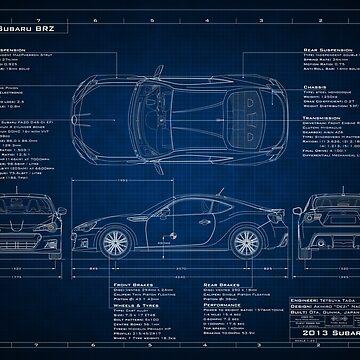 Subaru BRZ Blueprint by BlackArtGraphx