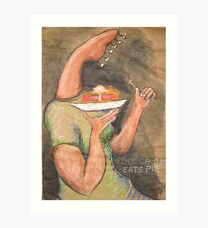 Rock Chick Eats Pie Art Print