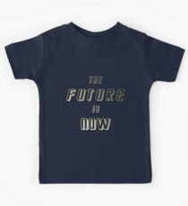 The Future is Now -  Gold on White & Black Kids Tee