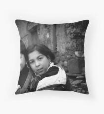 Children Smiling On The Street Throw Pillow