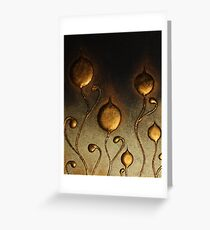 ABSTRACT BOTANICAL NOUVEAU COLLECTION ~ BRONZE TULIPS Greeting Card