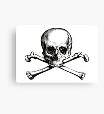 Skull and Crossbones | Black and White Canvas Print