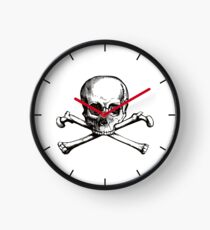 Skull and Crossbones | Black and White Clock
