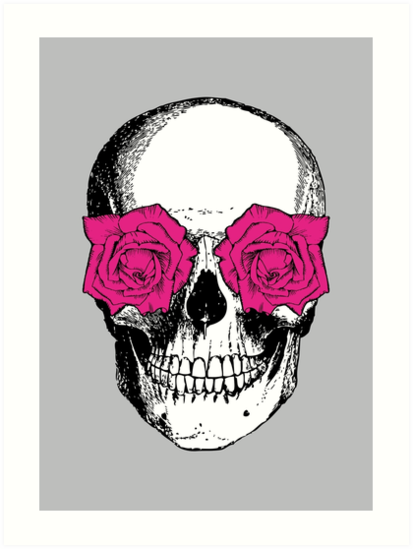 Skull and Roses | Grey and Pink by EclecticAtHeART
